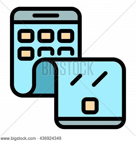 Flex Phone Cellular Icon. Outline Flex Phone Cellular Vector Icon Color Flat Isolated