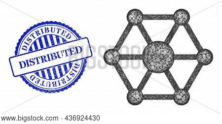 Vector Net Iot Frame, And Distributed Blue Rosette Dirty Stamp Seal. Linear Carcass Net Illustration