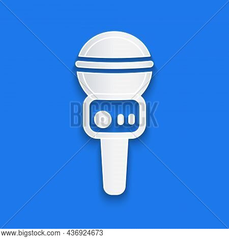 Paper Cut Microphone Icon Isolated On Blue Background. On Air Radio Mic Microphone. Speaker Sign. Pa