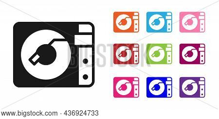 Black Vinyl Player With A Vinyl Disk Icon Isolated On White Background. Set Icons Colorful. Vector
