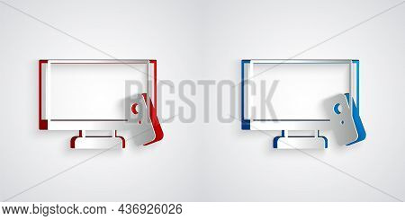 Paper Cut Smart Tv Icon Isolated On Grey Background. Television Sign. Paper Art Style. Vector