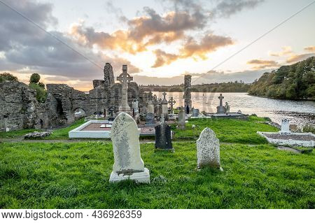 Donegal Town, Ireland - October 20 2021 : The Sun Is Setting Above The Abbey Graveyard Which Was Bui