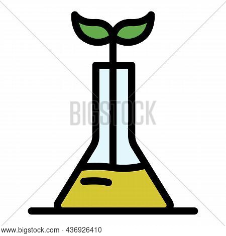 Sprout From A Laboratory Flask Icon. Outline Sprout From A Laboratory Flask Vector Icon Color Flat I