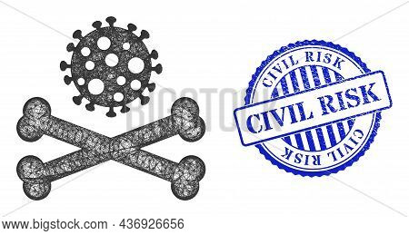 Vector Crossing Mesh Death Virus Frame, And Civil Risk Blue Rosette Unclean Stamp Seal. Crossed Fram
