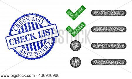 Vector Net Mesh Check List Frame, And Check List Blue Rosette Corroded Stamp Seal. Crossed Frame Net