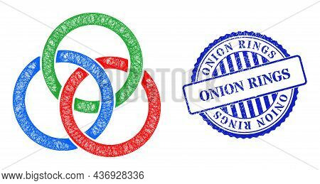Vector Net Mesh Circle Links Knot Frame, And Onion Rings Blue Rosette Grunge Seal Imitation. Crossed