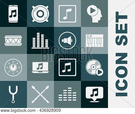 Set Musical Note In Speech Bubble, Vinyl Disk, Synthesizer, Note, Tone, Equalizer, Drum, Player And