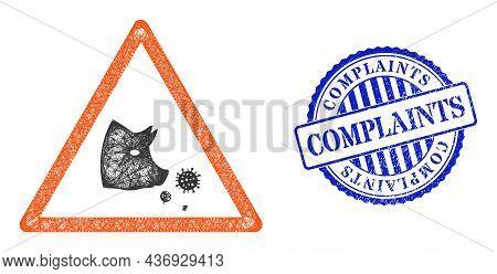 Vector Crossing Mesh Pork Flu Warning Carcass, And Complaints Blue Rosette Rubber Seal Print. Linear
