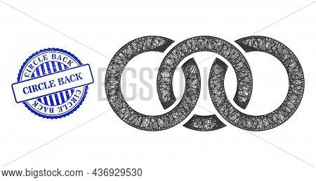 Vector Crossing Mesh Circle Chain Link Carcass, And Circle Back Blue Rosette Textured Stamp Seal. Li