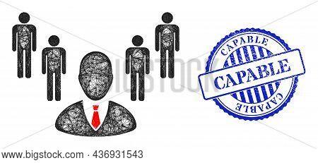 Vector Crossing Mesh Group Boss Frame, And Capable Blue Rosette Textured Stamp Seal. Linear Frame Ne
