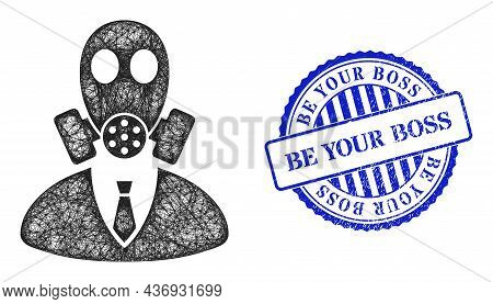 Vector Net Mesh Gasmask Boss Carcass, And Be Your Boss Blue Rosette Unclean Stamp Seal. Hatched Carc