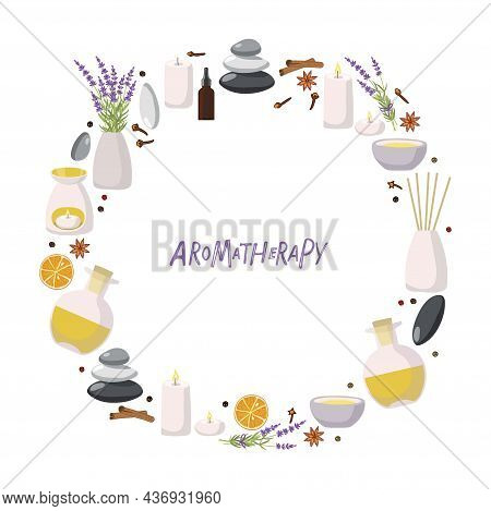 Aromatherapy Round Frame. Aroma Diffusers, Yellow Essential Oil In Bottle, Lavender Plant, Balance S