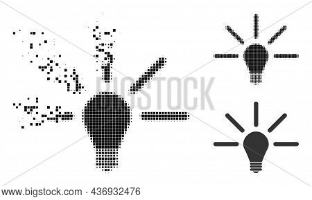 Dissipated Pixelated Bulb Light Icon With Halftone Version. Vector Wind Effect For Bulb Light Pictog