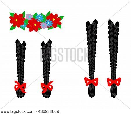 Women's Braids And A Wreath Of Flowers On An Isolated Background. Cartoon. Vector Illustration.