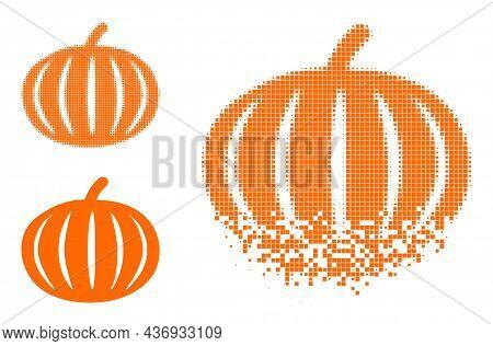 Moving Dot Harvest Pumpkin Pictogram With Halftone Version. Vector Destruction Effect For Harvest Pu