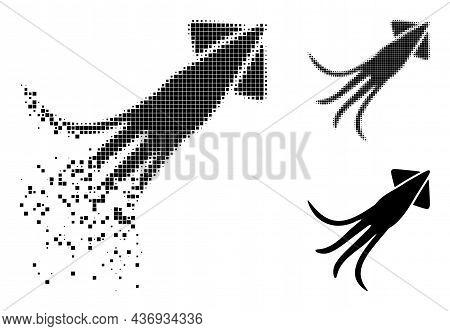 Fragmented Dotted Calmar Glyph With Halftone Version. Vector Destruction Effect For Calmar Icon. Pix