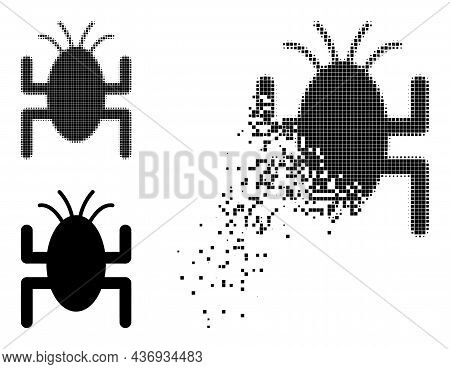 Decomposed Dotted Bug Tick Icon With Halftone Version. Vector Wind Effect For Bug Tick Icon. Pixel D