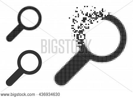 Broken Pixelated Find Icon With Halftone Version. Vector Wind Effect For Find Icon. Pixelated Dust E