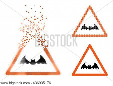 Moving Dotted Bat Warning Pictogram With Halftone Version. Vector Destruction Effect For Bat Warning