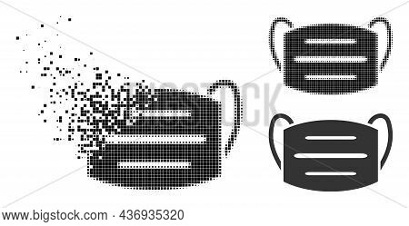 Dissipated Pixelated Covid Mask Icon With Halftone Version. Vector Wind Effect For Covid Mask Icon.