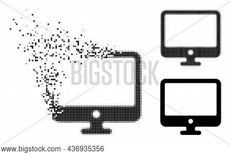 Broken Pixelated Computer Display Pictogram With Halftone Version. Vector Destruction Effect For Com