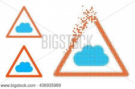 Burst Dot Cloud Warning Pictogram With Halftone Version. Vector Destruction Effect For Cloud Warning