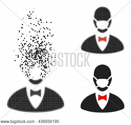 Erosion Pixelated Boss Mask Glyph With Halftone Version. Vector Destruction Effect For Boss Mask Pic