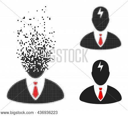 Fragmented Dot Boss Headache Pictogram With Halftone Version. Vector Wind Effect For Boss Headache P
