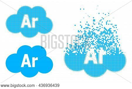 Erosion Dotted Argon Cloud Icon With Halftone Version. Vector Wind Effect For Argon Cloud Pictogram.