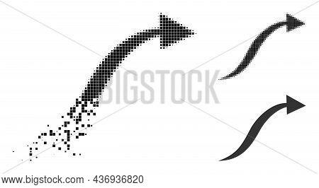 Broken Pixelated Curve Arrow Pictogram With Halftone Version. Vector Destruction Effect For Curve Ar