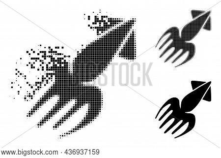 Shredded Dotted Calmar Pictogram With Halftone Version. Vector Destruction Effect For Calmar Pictogr