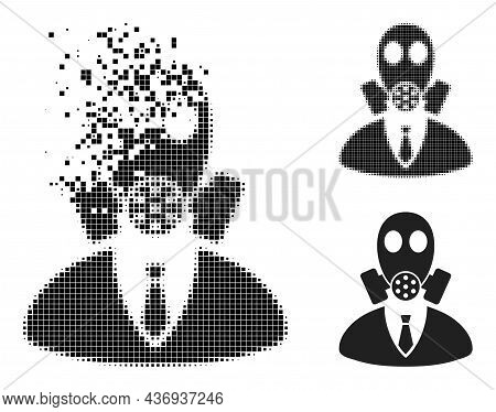 Dissipated Dotted Gasmask Boss Pictogram With Halftone Version. Vector Wind Effect For Gasmask Boss