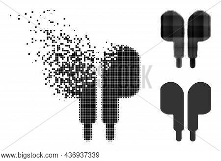 Erosion Pixelated Compact Earphones Icon With Halftone Version. Vector Destruction Effect For Compac