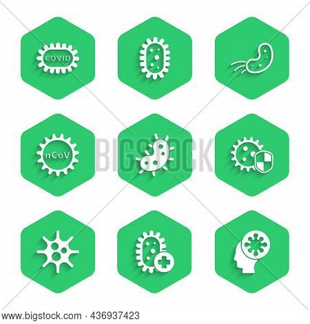 Set Virus, Positive Virus, Human And, Shield Protecting From, Corona 2019-ncov, And Covid-19 Icon. V