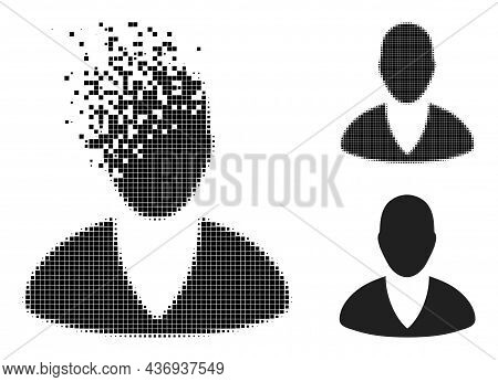 Destructed Pixelated Client Profile Icon With Halftone Version. Vector Wind Effect For Client Profil
