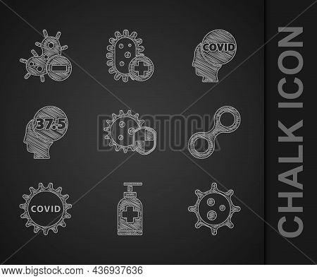 Set Shield Protecting From Virus, Bottle Of Liquid Antibacterial Soap, Virus, Corona Covid-19, High