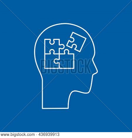 Thinking And Solving Process Line Icon Concept. Human Head With Puzzle Inside Outline Stroke Element