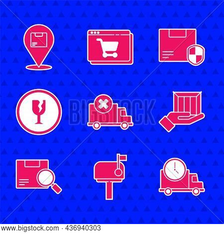 Set Delivery Cargo Truck Vehicle, Mail Box, Logistics Delivery And Clock, Hand With Boxes, Search Pa