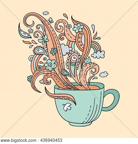 Colorful Line Art Cup Of Tea Or Coffee. Vector Adult Coloring Page A Cup And Ornate Steam In Doodle