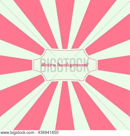 Old Vintage Retro Background With Sunbeams. Vector Illustration With Beige And Pink Radial Lines And