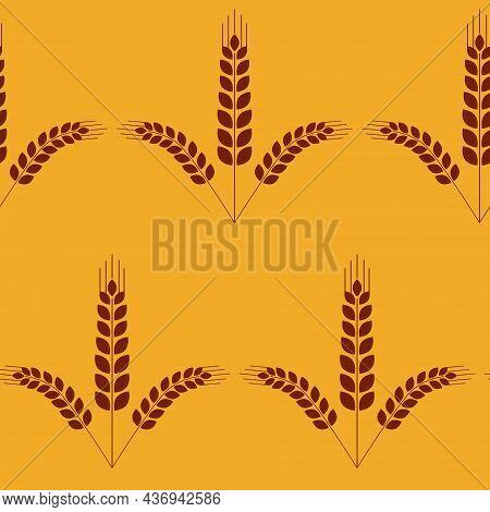 Seamless Pattern, Ear Of Wheat, Vector Illustration For Textile Harvest Fertility Abundance