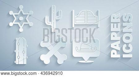 Set Crossed Human Bones, Saloon Door, Cactus, Location Cowboy, And Hexagram Sheriff Icon. Vector