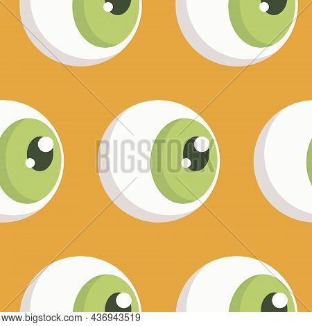 Seamless Pattern, Eyeball With Green Iris, Vector Illustration For Textiles, Wallpaper And Wrapping