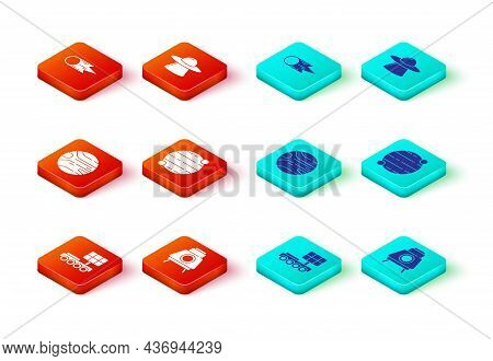 Set Mars Rover, Planet, Ufo Flying Spaceship And Comet Falling Down Fast Icon. Vector