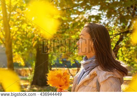 Beautiful Cauacasian Young Woman With Long Brown Hair In Casual Clothes During A Walk In Autumn Park