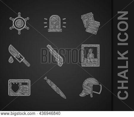 Set Police Shotgun, Marijuana Joint, Helmet, Wanted Poster, Badge With Id Case, Bloody Knife, Plasti
