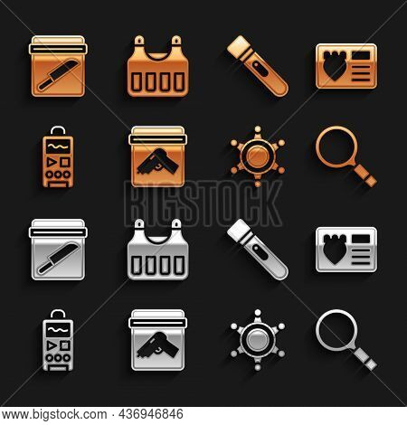 Set Evidence Bag With Gun, Police Badge Case, Magnifying Glass Search, Hexagram Sheriff, Dictaphone,
