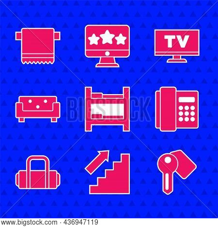 Set Hotel Room Bed, Stairs Up, Door Lock Key, Telephone Handset, Suitcase, Sofa, Smart Tv And Towel