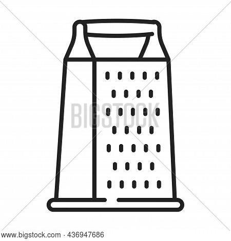 Monochrome Grater Icon Line Vector Illustration. Simple Linear Logo Kitchen Utensil For Cooking Food