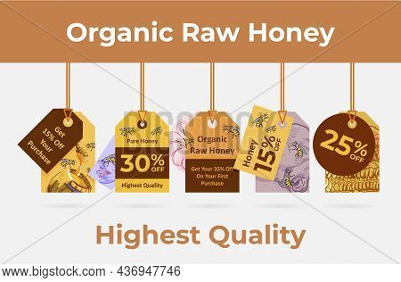 Organic Raw Honey Vertical Hanged Label With Rope Set Vector Flat Illustration Promo Sale Discount
